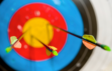 Arrows in the centre of a target