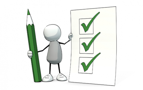 cartoon character holding a pencil and ticked list
