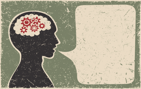Illustration of a person thinking and speaking