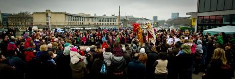 Big crowd celebrating Chinese New Year in Bristol