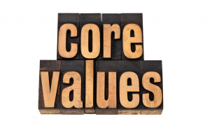 core values in wooden letters