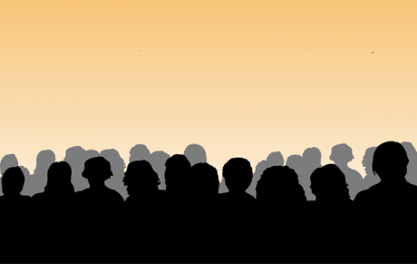 silhouettes of people against a yellow background