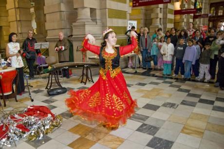 Girl dancing in traditional dress
