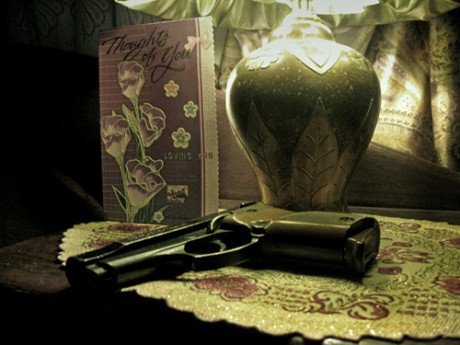 Image of vase and gun