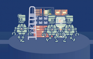 illustration of robots working