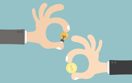 Illustration of two hands holding coins