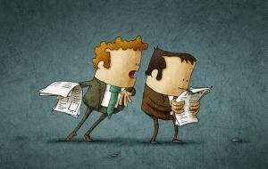 illustration of reading over somebodies shoulder