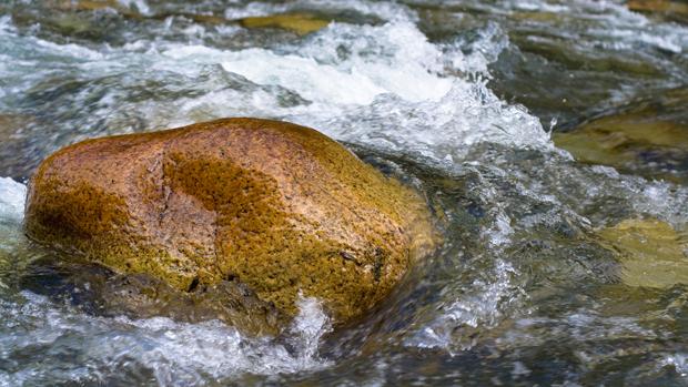 a rock in a stream