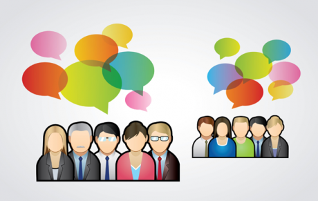 Groups of people with multi-coloured speech bubbles