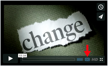 Arrow pointing to closed captions icon on Vimeo