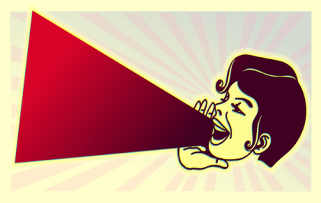 Illustration of a woman shouting through a megaphone