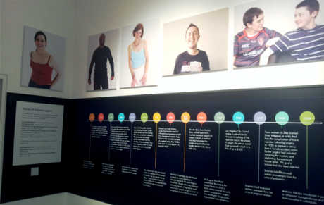 photo of portraits and a time-line in a gallery