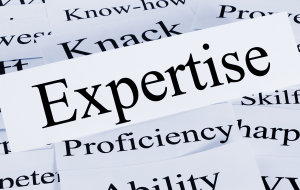 Expertise written on a piece of paper