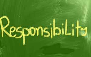 Responsibility written on a green background