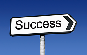 signpost pointing to success