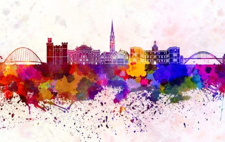 colourful illustration of a city